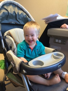 Here's Steven as happy as can be in his stroller!