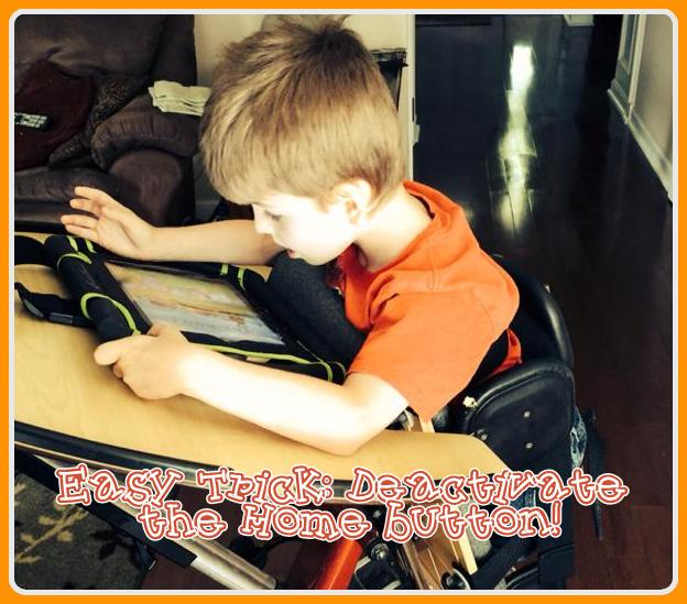 Matthew Keisler weight bearing in his stander while enjoying his ipad!